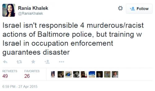 Twitter Baltimore Palestine Rania Khalek Occupation Enforcement