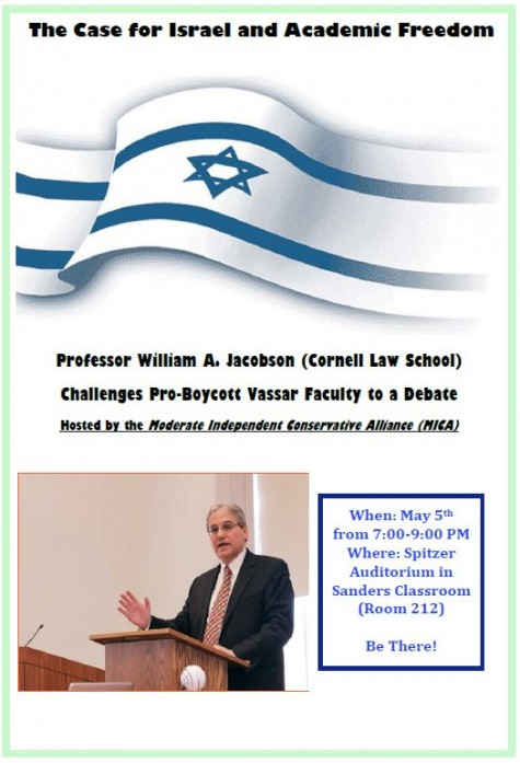 Vassar Israel Debate Event Flyer