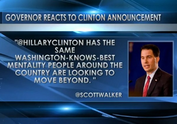 Walker on Hillary Announcement