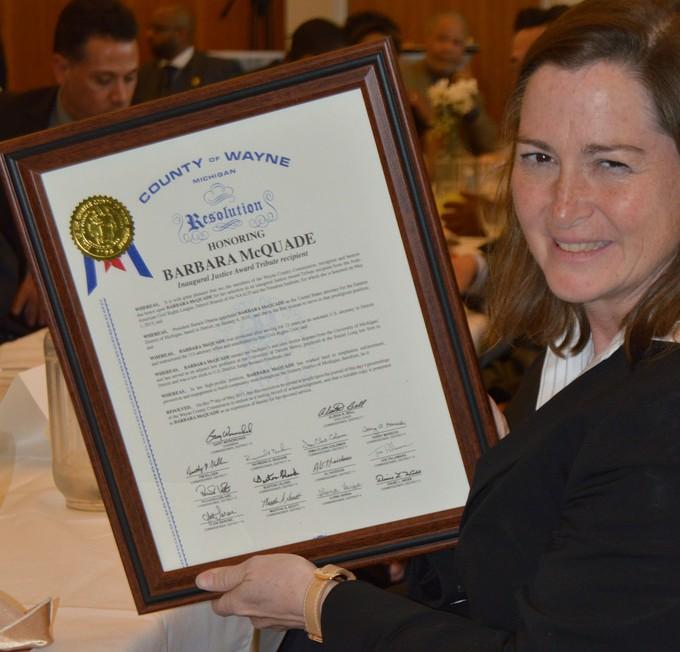 Barbara McQuade Justice Awards Wayne County Plaque