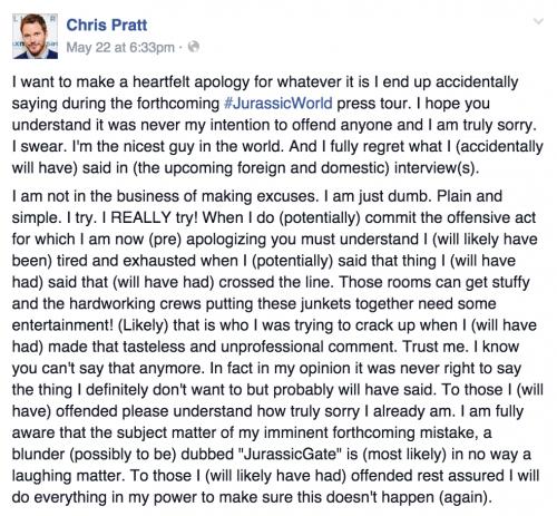 Chris Pratt Jurassic World feminists facebook statement apology
