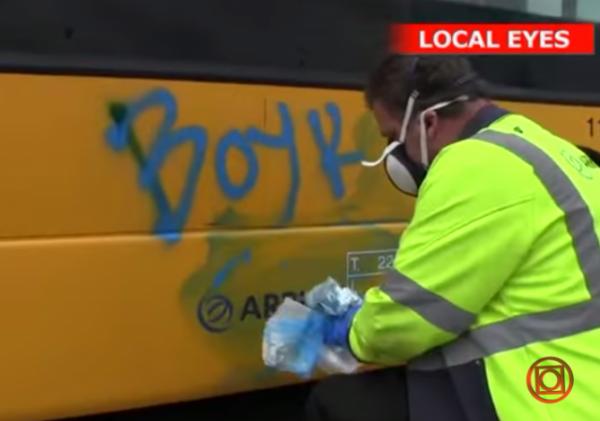 Copenhagen buses BDS boycott Israel graffiti