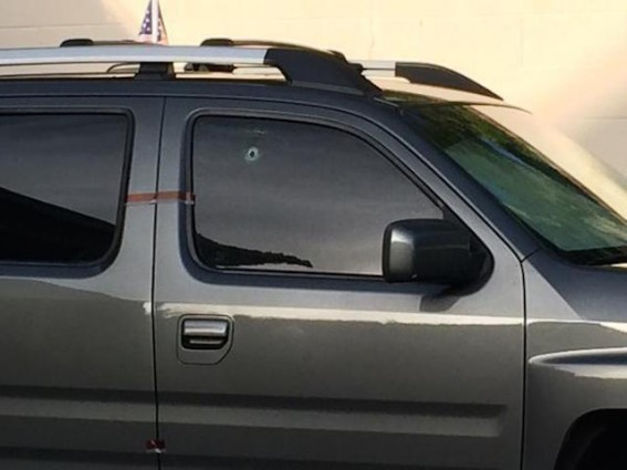 George Zimmerman SUV bullet hole 5-11-15