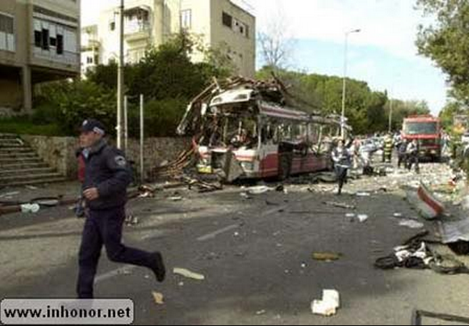Haifa Bus 37 Bombing Bus Photo Rescue Worker Running