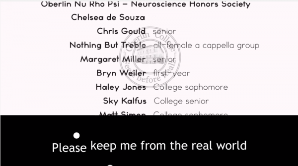 Oberlin College Video Feelz before Reelz Choir Christina Hoff Sommers screenshot keep me from the real world