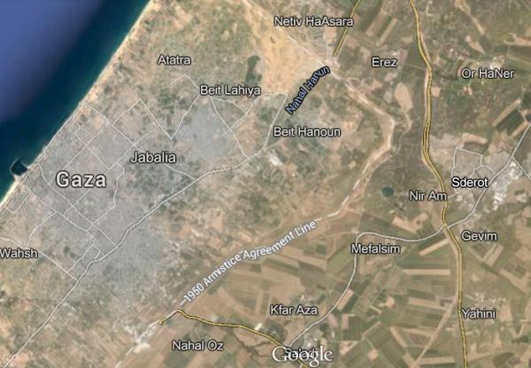 Sderot Satellite Map North Gaza