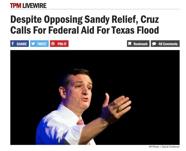 Ted Cruz hypocrite for requesting federal aid Texas flooding