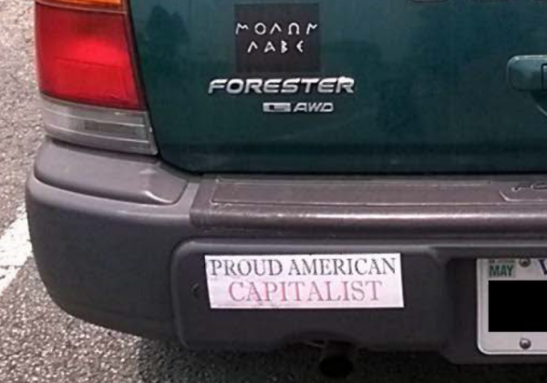 Bumper Stickers - Virginia - Proud Capitalist close up