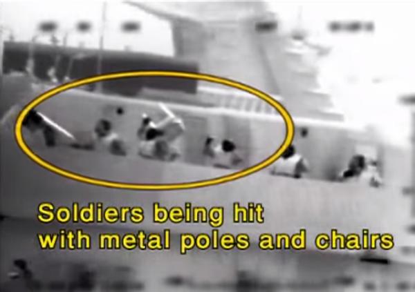 Gaza Flotilla 2010 Mavi Marmara Passengers Attacking IDF Soldiers