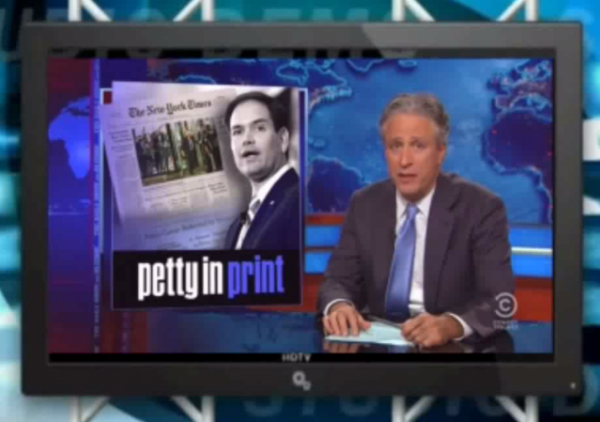 Jon Stewart on NYT coverage of marco rubio how is this front page news