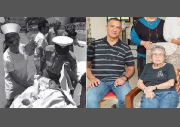 Moshav Avivim Shimon Biton and Nurse 1970 and 2015 w border