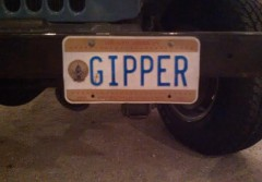 Reagan Jeep Licence Plate Gipper