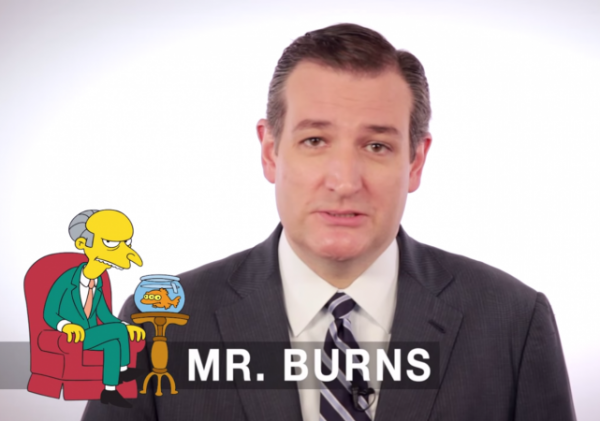 Senator Ted Cruz auditions for The Simpsons impressions