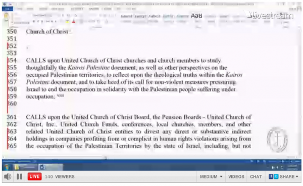 United Church Christ Israel Divestment Resolution 1
