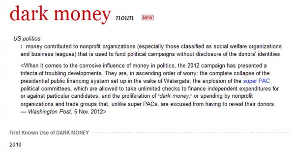 dark money merriam-webster dictionary addition