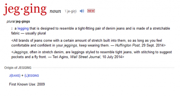 jegging dictionary addition merriam webster