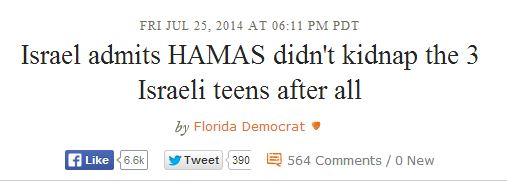 Daily Kos Israel admits Hamas didn't kill teens