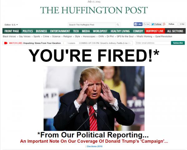 HuffPo Donald Trump Politics Entertainment Homepage