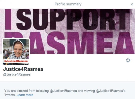Justice for Rasmea block Twitter