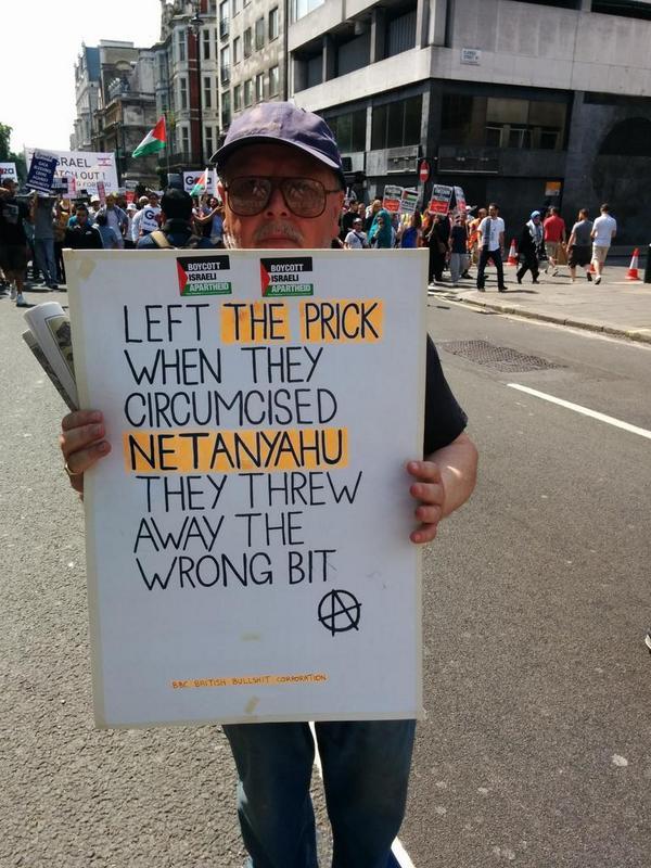 London anti-Israel protest 7-26-2017 Netanyahu Circumcision