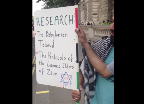 London anti-Israel protest 7-26-2017 Protocols of Elder of Zion
