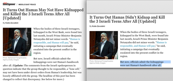 NY Magazine screenshot Hamas didn't kidnap 3 Israeli Teens side by side headlines