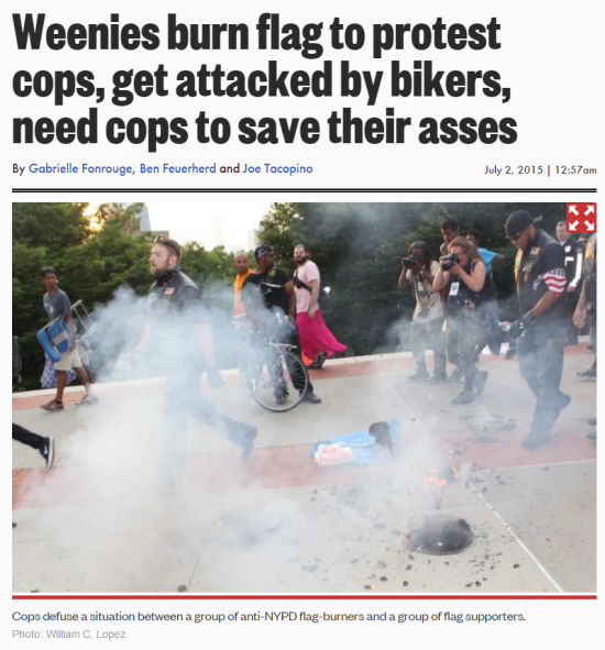 NY Post Flag Burning Protest Weenies