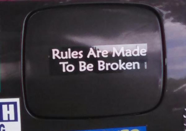 Bumper Stickers - Ithaca - Rules Meant to be broken