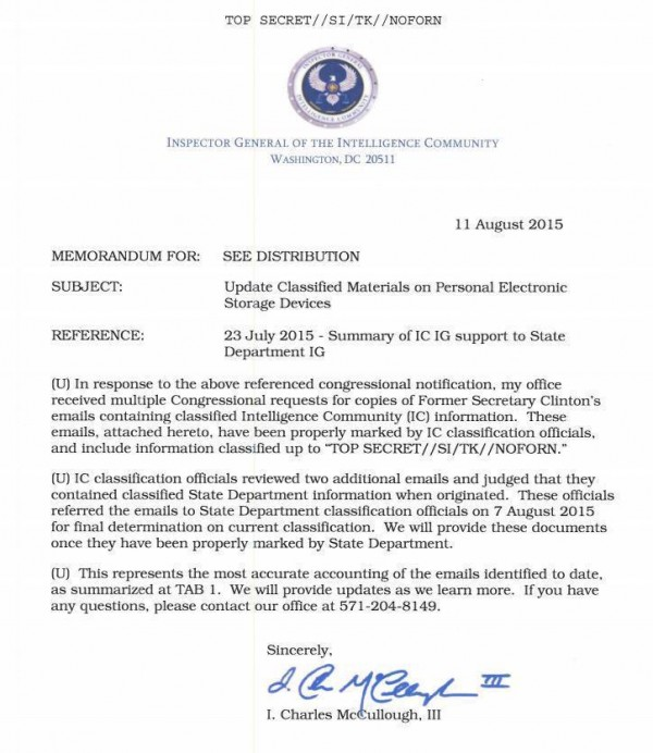 Inspector General of Intelligence Community August 11 2015 re Hillary Classified Emails