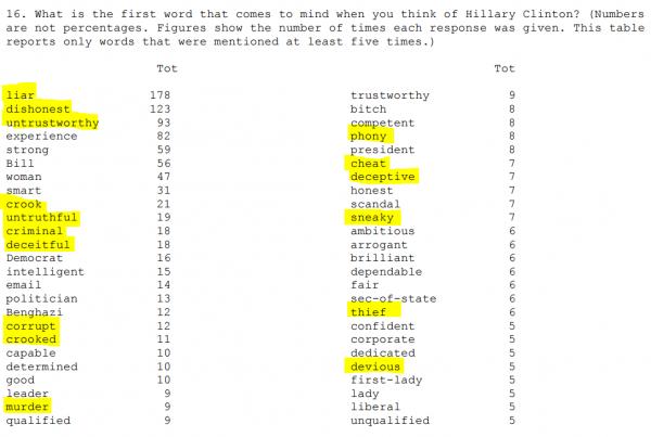 Poll Word Association Hillary Quinnipiac 8-27-2015