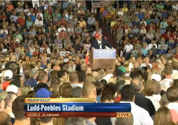 Trump Mobile Crowd Podium
