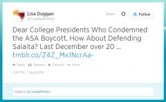 Twitter - Lisa Duggan - Salaita ASA Boycott