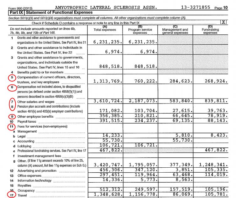 An excerpt from the ALS Association's 2013 tax returns.