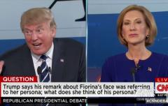 Carly Fiorina CNN Debate split screen Trump2