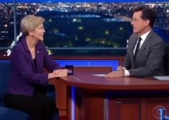 Elizabeth Warren and Colbert