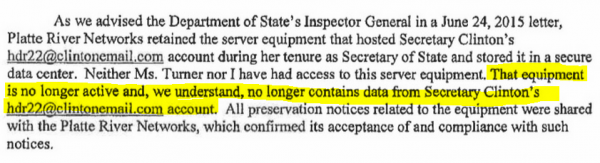 Judicial Watch FOIA Case Huma Abedin - Kendal 8-12-2015 letter excerpt re server data