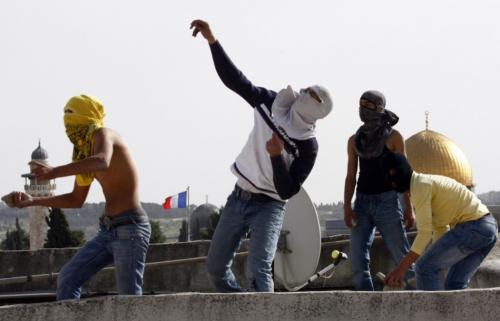 Rock Throwing Palestinian Youth