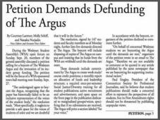 Wesleyan Argus Petition Demands Defunding w Border