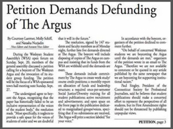Wesleyan Argus Petition Demands Defunding w Border