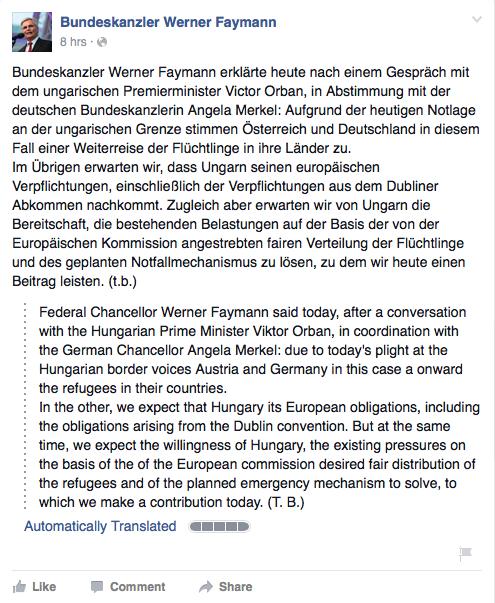 austrian chancellor facebook