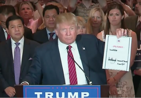 donald trump loyalty pledge august 2015