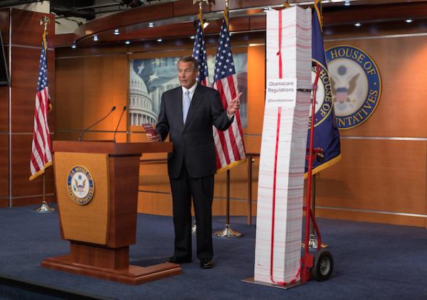 john boehner obamacare paper tower