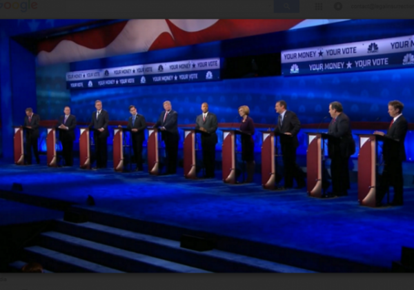 CNBC Debate 2015 Republican Candidates on stage w border
