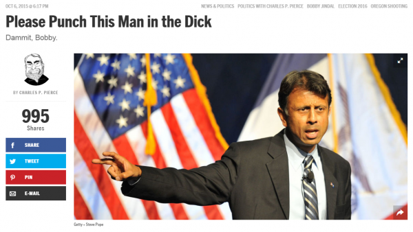 Charles Pearce Esquire Punch Jindal in Dick