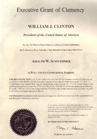 Clinton pardon to Schwimmer