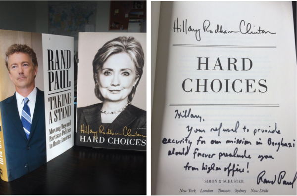 rand paul hillary clinton book auction off president 2016 campaign email scandal benghazi debate polling hard choices