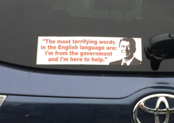 Bumper Sticker - Larchmont - Reagan I'm From The Government