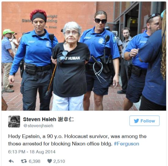 Hedy Epstein arrest in St. Louis