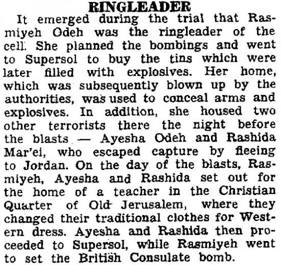 Jersusalem Post SUPERSOL SABOTEURS SENTENCED TO LIFE Rasmieh Ringleader