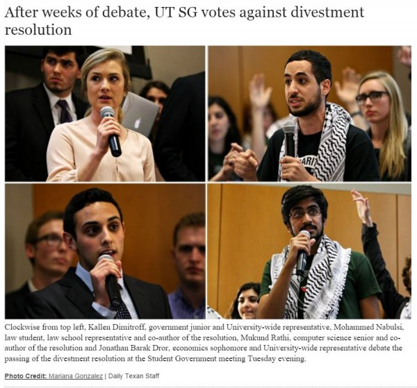 http://www.dailytexanonline.com/2015/04/22/after-weeks-of-debate-ut-sg-votes-against-divestment-resolution